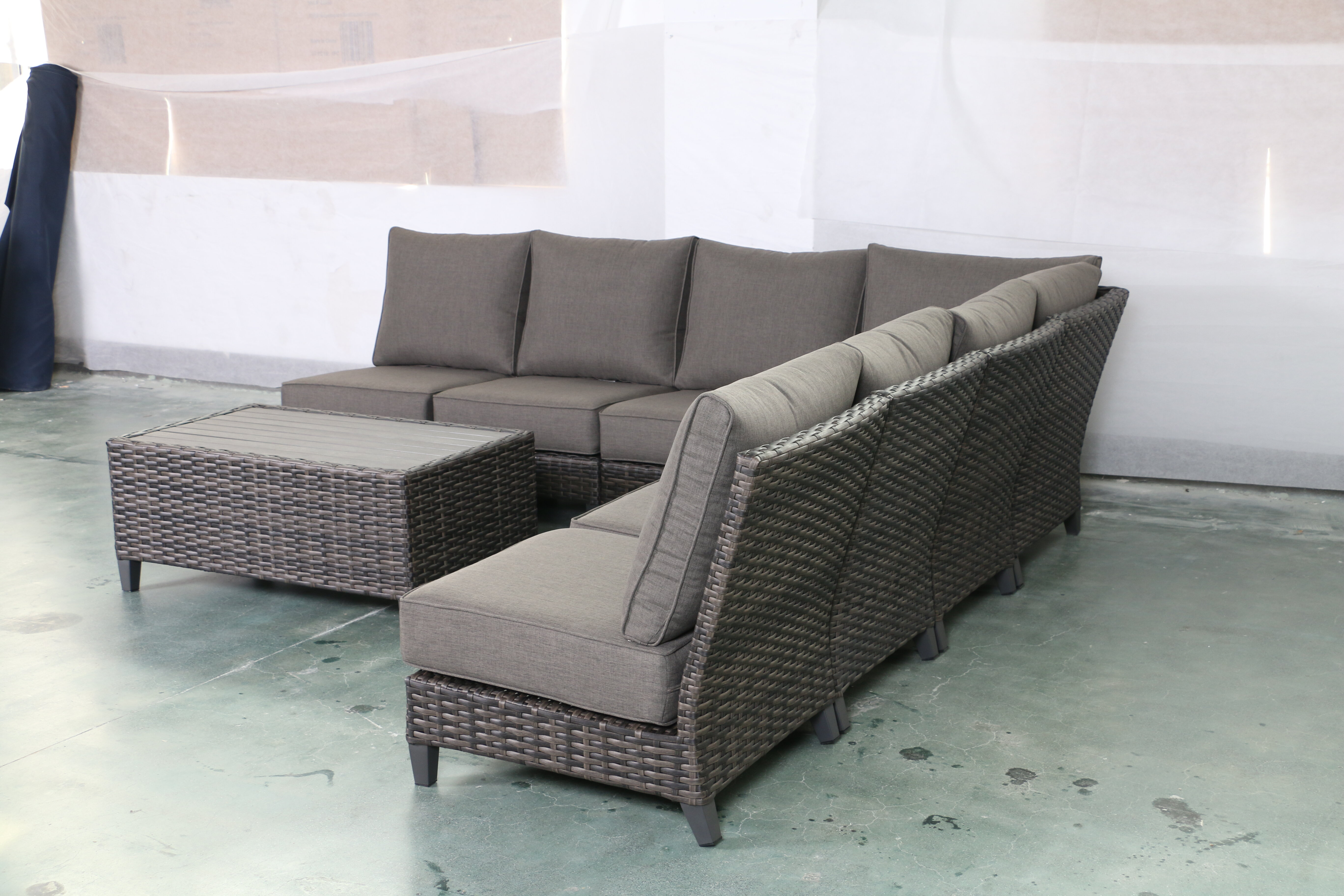 Bayou Breeze Rebeca Armless 8 Piece Rattan Sectional Seating Group With Cushions Wayfair