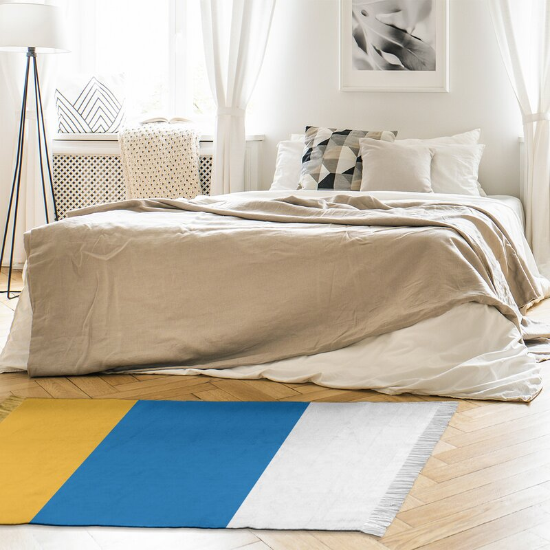 East Urban Home Striped 4 6 X 5 5 Yellow Royal Blue Area