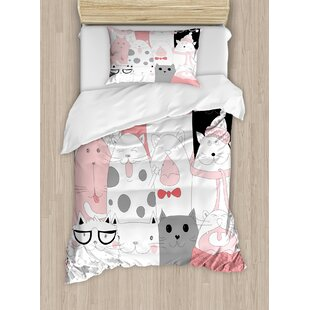 Cat Cute Cartoon Kittens Collection Funny Smiling Glasses Scarfs Doodle Humor Duvet Cover Set