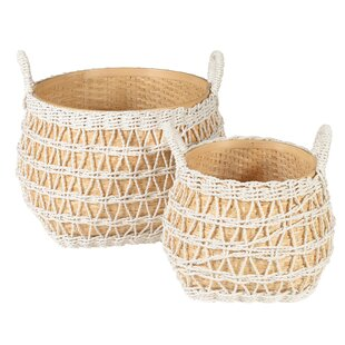 Wicker 2 Piece Basket Set By Beachcrest Home