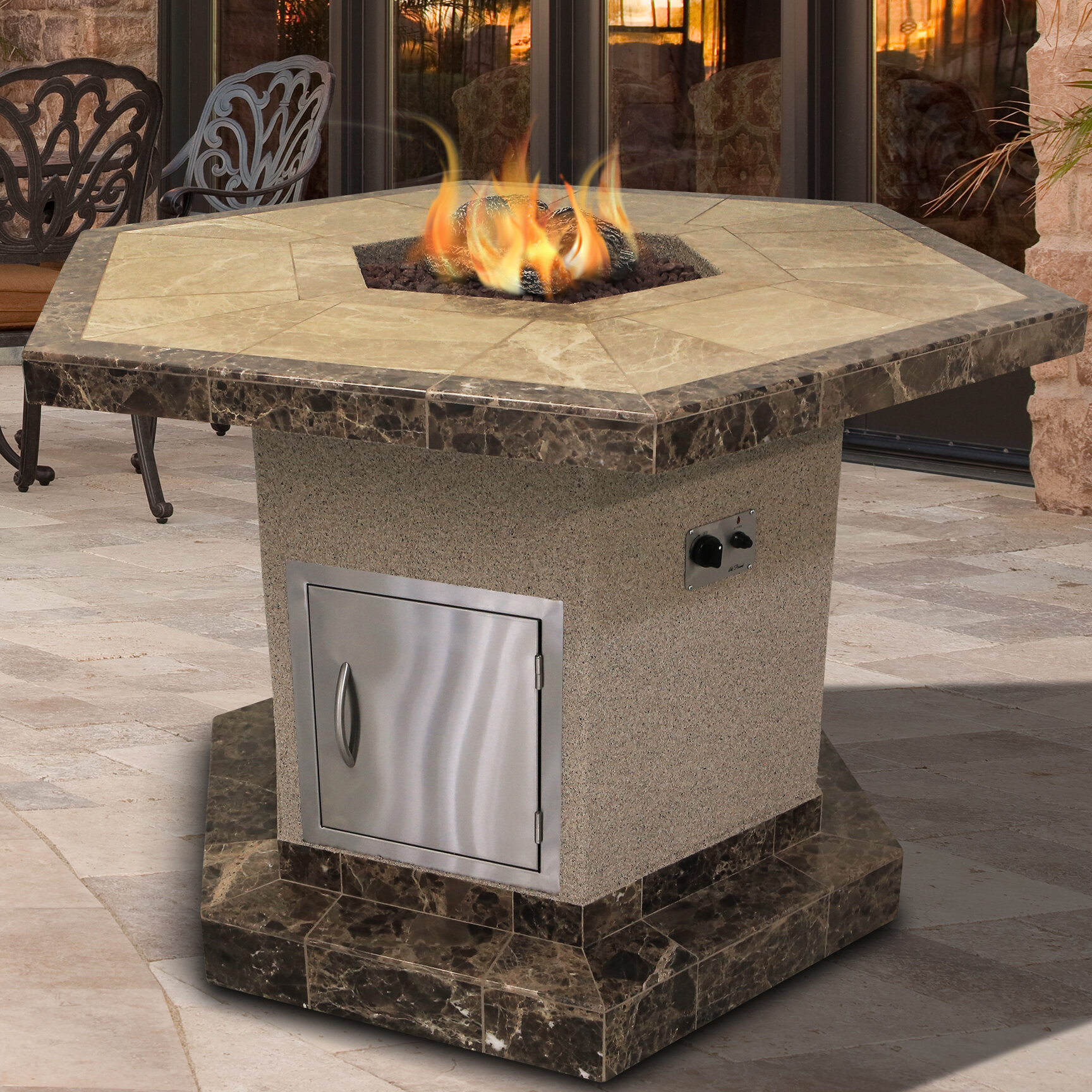 Cal Flame Stucco And Tile Dining Height Square Steel Propane Natural Gas Fire Pit Table Wayfair