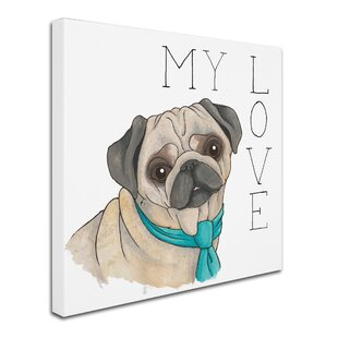 puppy love pug color graphic art print on wrapped canvas - Pug Pictures To Color