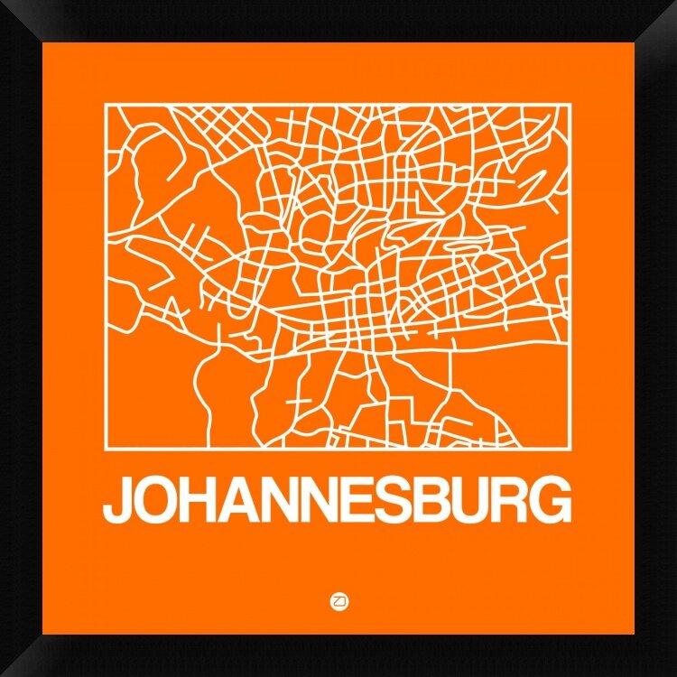 Naxart Orange Map Of Johannesburg Framed Graphic Art