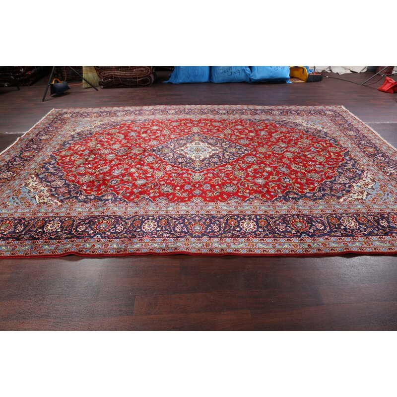 "One-of-a-Kind Hildebrandt Traditional Floral Kashan Vintage Persian Hand-Knotted 9'8"" x 13'4"" Wool Blue/Red Area Rug"