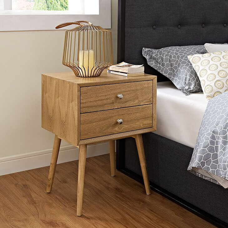 Wrought Studio Fann 2 Drawer Nightstand Reviews Wayfair