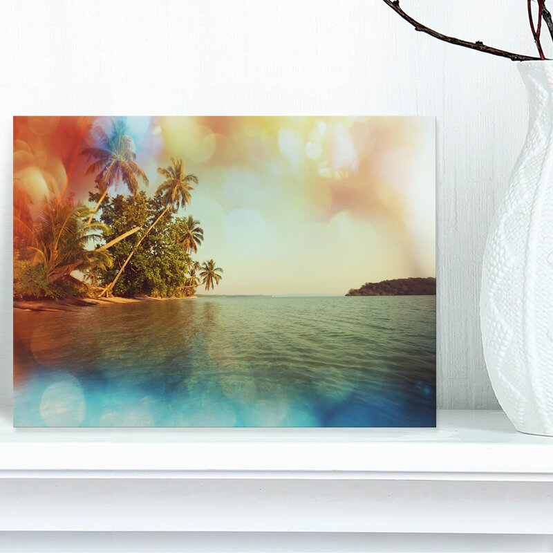 Designart Serene Tropical Beach With Palms Graphic Art On Wrapped Canvas Wayfair
