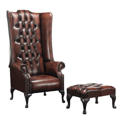 Colombo Wingback Chair and Footstool Astoria Grand Upholster