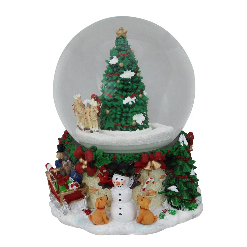 6e60d9d1b3eb5 Musical and Animated Santa on Sleigh with Christmas Tree Rotating Water  Globe