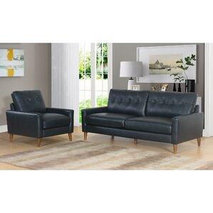 Corrigan Studio Annalise Wright Mid-Century 2 Piece Leather Living Room Set