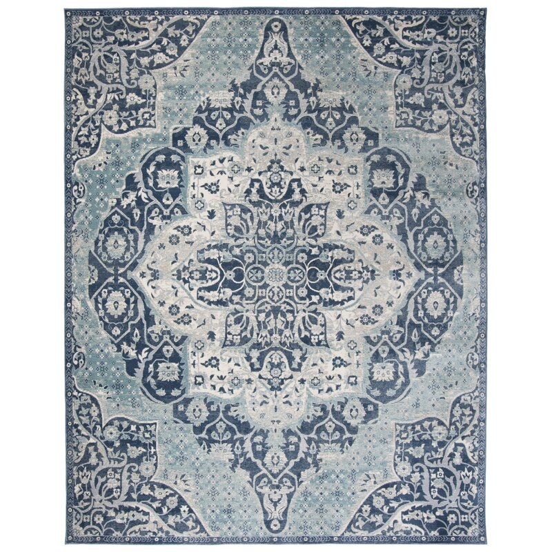 Bungalow Rose Doucet Navy Aqua Area Rug Reviews Wayfair