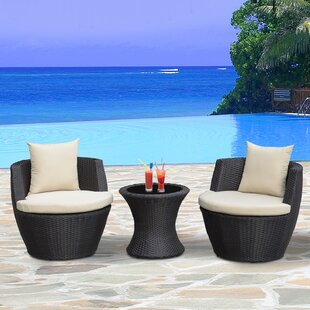 Chad Outdoor 3 Piece Rattan Seating Group with Cushions