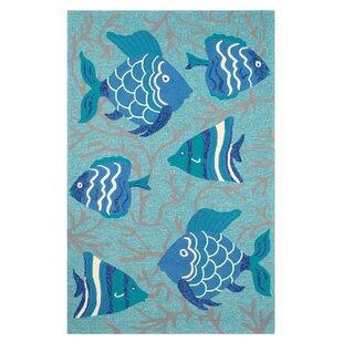 Go Fish Hand-Hooked Blue Indoor/Outdoor Area Rug