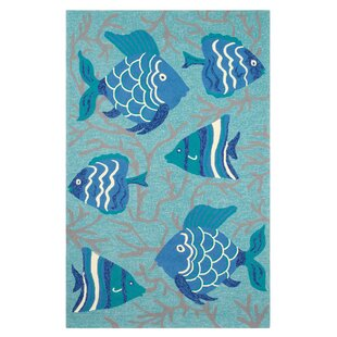 Read Reviews Go Fish Hand-Hooked Lake Indoor/Outdoor Area Rug By CompanyC
