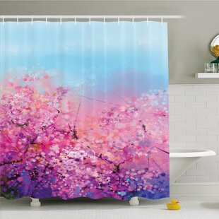Watercolor Flower Home Sakura Blossom Floral Beauty with Sky Japanese Cherry Spring Theme Shower Curtain Set