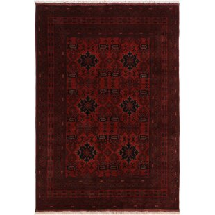 One-of-a-Kind Cremeans Hand-Knotted 5'7 x 7'8 Wool Red/Black Area Rug Isabelline