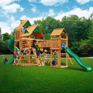 treasure trove with amber posts cedar swing set