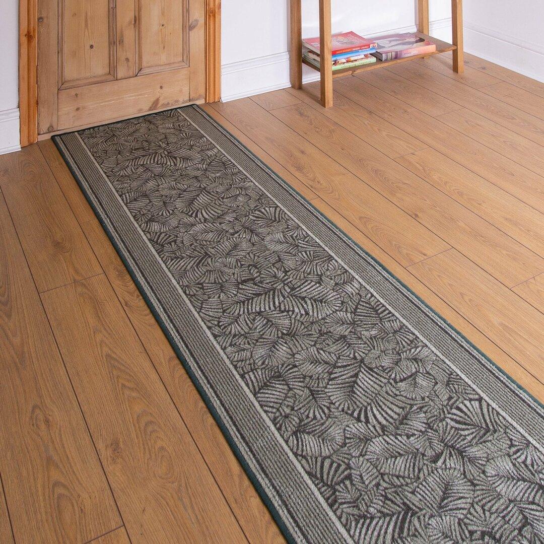 Almond Looped/Hooked Green Hallway Runner Rug