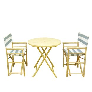 Bamboo 3 Piece Outdoor Dinning Set by ZEW Inc Spacial Price