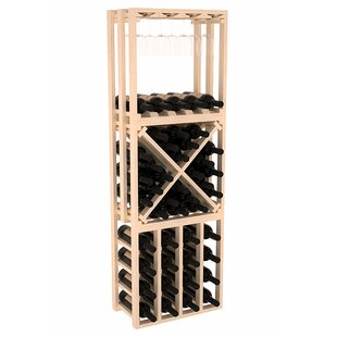 Red Barrel Studio Karnes Pine Lattice Stacking Cube 45 Bottle Floor Wine Rack