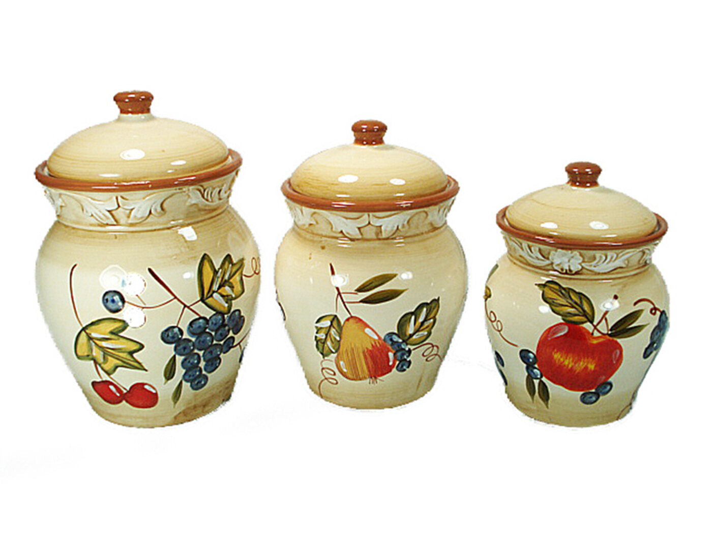 D\'lusso Designs Ceramic Fruit 3 Piece Kitchen Canister Set & Reviews ...