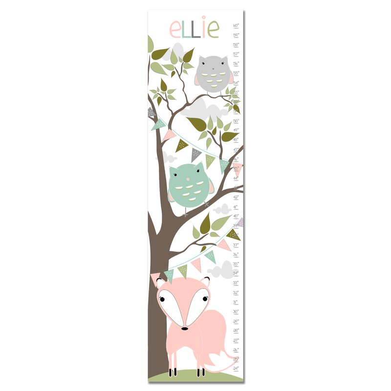 Finny And Zook Fox And Owl Woodland Personalized Canvas Growth Chart
