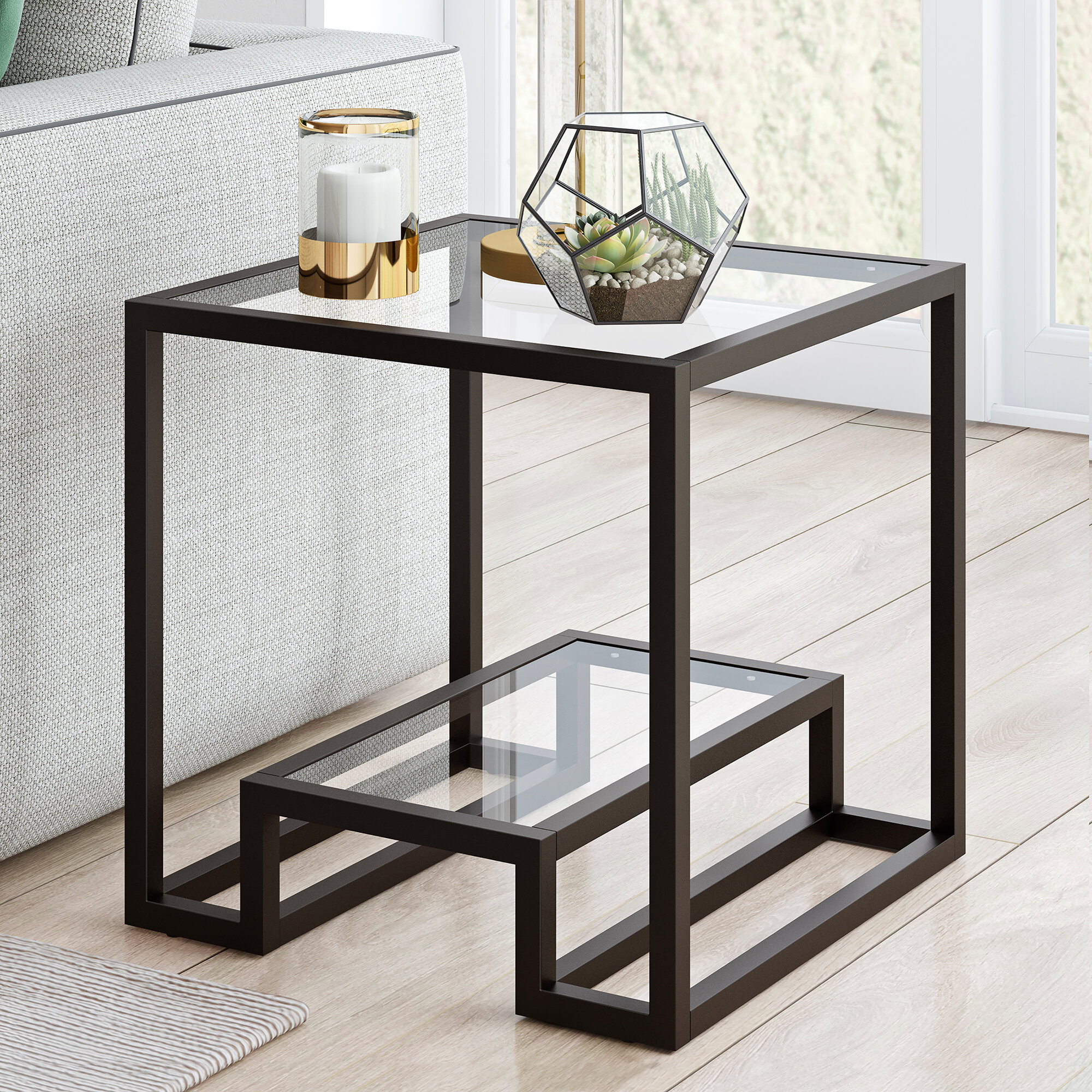 Picture of: Black Glass End Side Tables You Ll Love In 2020 Wayfair
