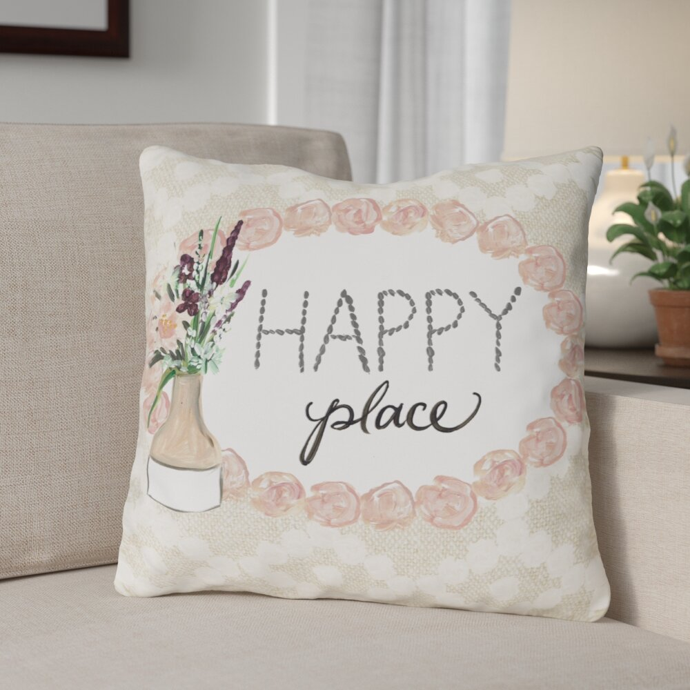 Red Barrel Studio Crowell Happy Place Throw Pillow Wayfair