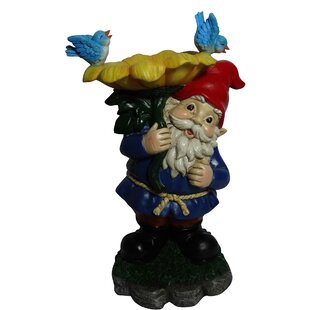 Alpine Gnome with Flower Statue Birdbath