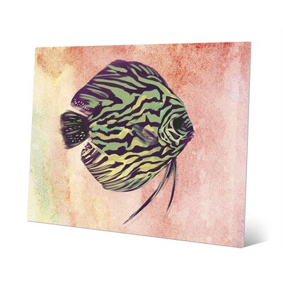 Chartreuse Discus Stripes Painting Print Click Wall Art