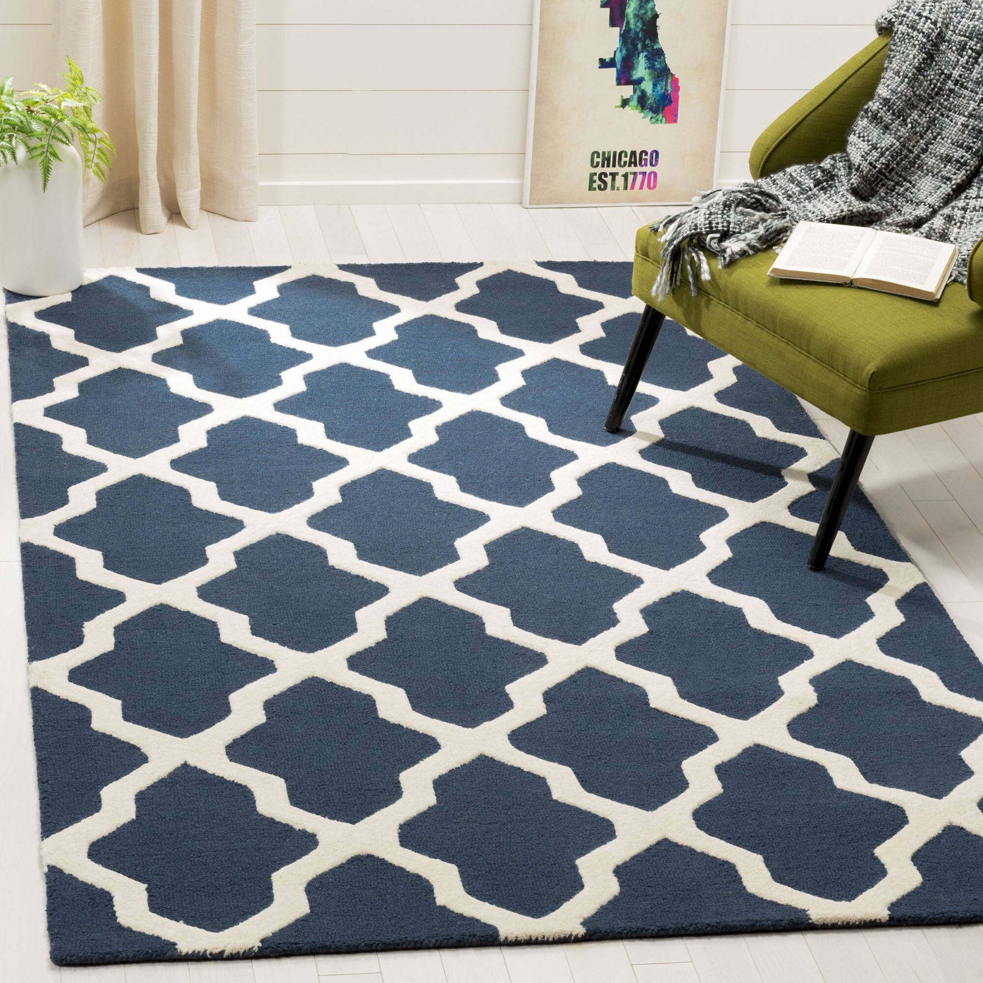 Charlenne Lattice Hand Tufted Wool Navy Blue Ivory Area Rug Reviews Joss Main