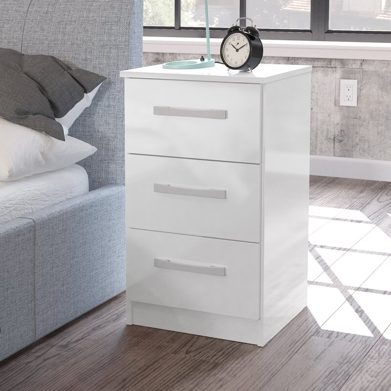 Macy 3 Drawer Bedside Table & Riley Ave. Macy 3 Drawer Bedside Table u0026 Reviews | Wayfair.co.uk