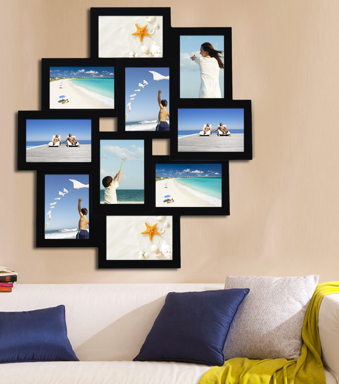 Adecotrading 10 Opening Wood Photo Collage Wall Hanging Picture
