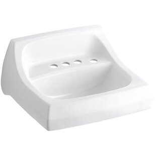 Budget Kingston Ceramic 22 Wall Mount Bathroom Sink with Overflow By Kohler
