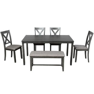 Santa 6  Piece Solid Wood Dining Set by Gracie Oaks