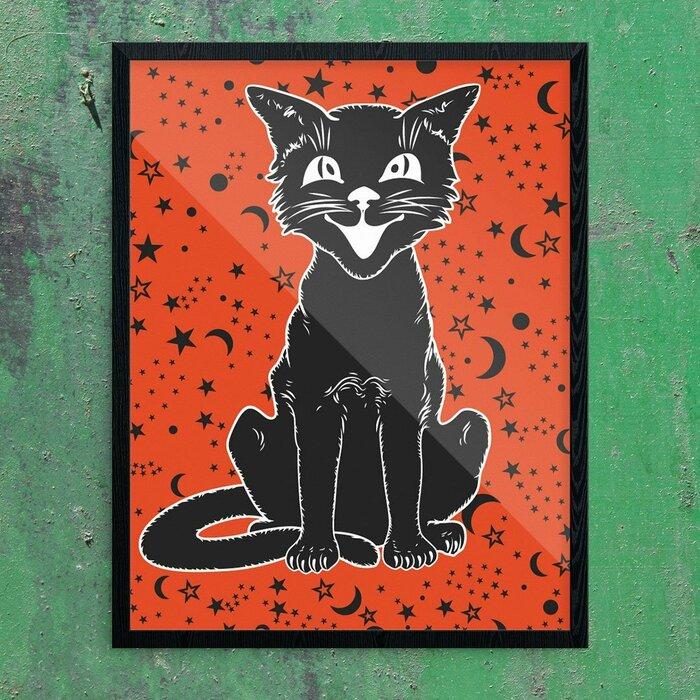 \u0027Vintage Halloween Cat on Orange\u0027 Graphic Art Print