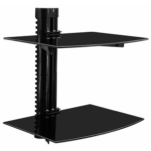 Tinted Tempered Glass Floating 2 Shelves Wall Mounted Shelf Bracket Stand ..