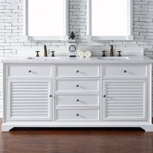 Osmond 72 Double Ceramic Sink Cottage White Bathroom Vanity Set by Greyleigh