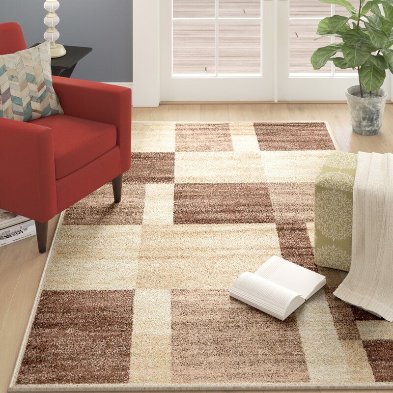 Ebern Designs Bryan Abstract Light Brown Area Rug & Reviews | Wayfair