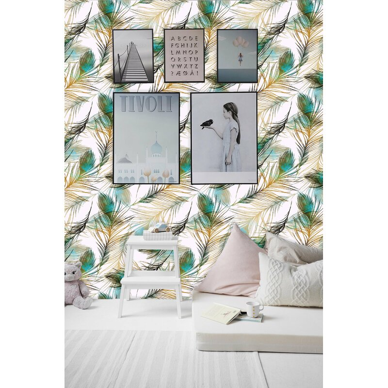 Bungalow Rose Heer Removable Peacock Feathers 10 L X 25 W Peel And Stick Wallpaper Roll Wayfair