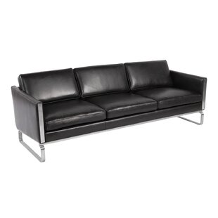 Yunior Mid-century Modern Genuine Leather Sofa