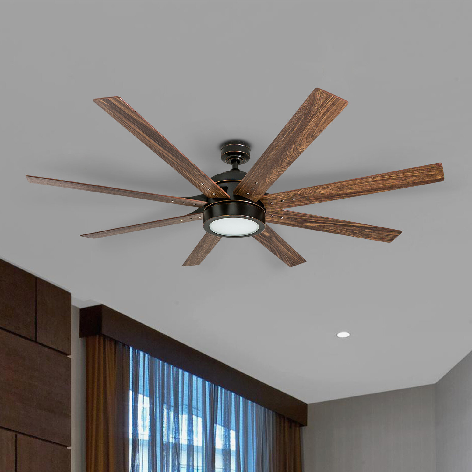 Wrought Studio 62 Centre Market Place 8 Blade Led Standard Ceiling Fan With Remote Control And Light Kit Included Reviews Wayfair