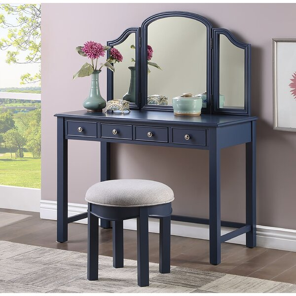 Red Barrel Studio Ruthville Vanity Set With Stool And Mirror Reviews Wayfair
