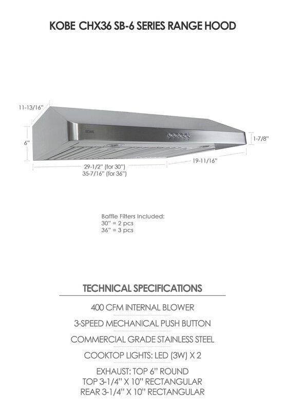"36"" 400 CFM Gainables sous meuble Range Hood"