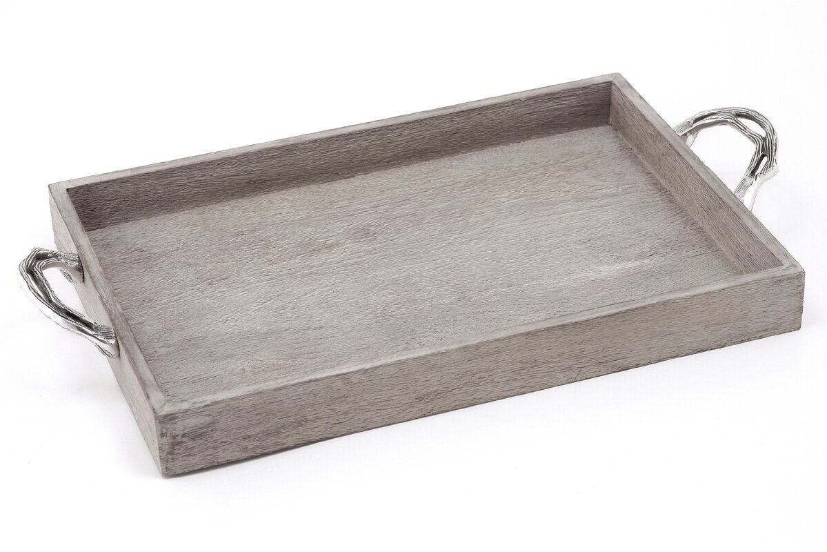 Weathered Wood Ottoman Serving Tray