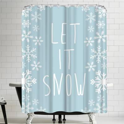Jetty Printables Light Blue Let It Snow Shower Curtain