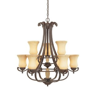 Hedley 9-Light Shaded Chandelier by Fleur De Lis Living