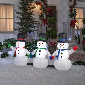 Airblown 3 Piece Light Show Snowman Pathway with 3 Music Inflatable