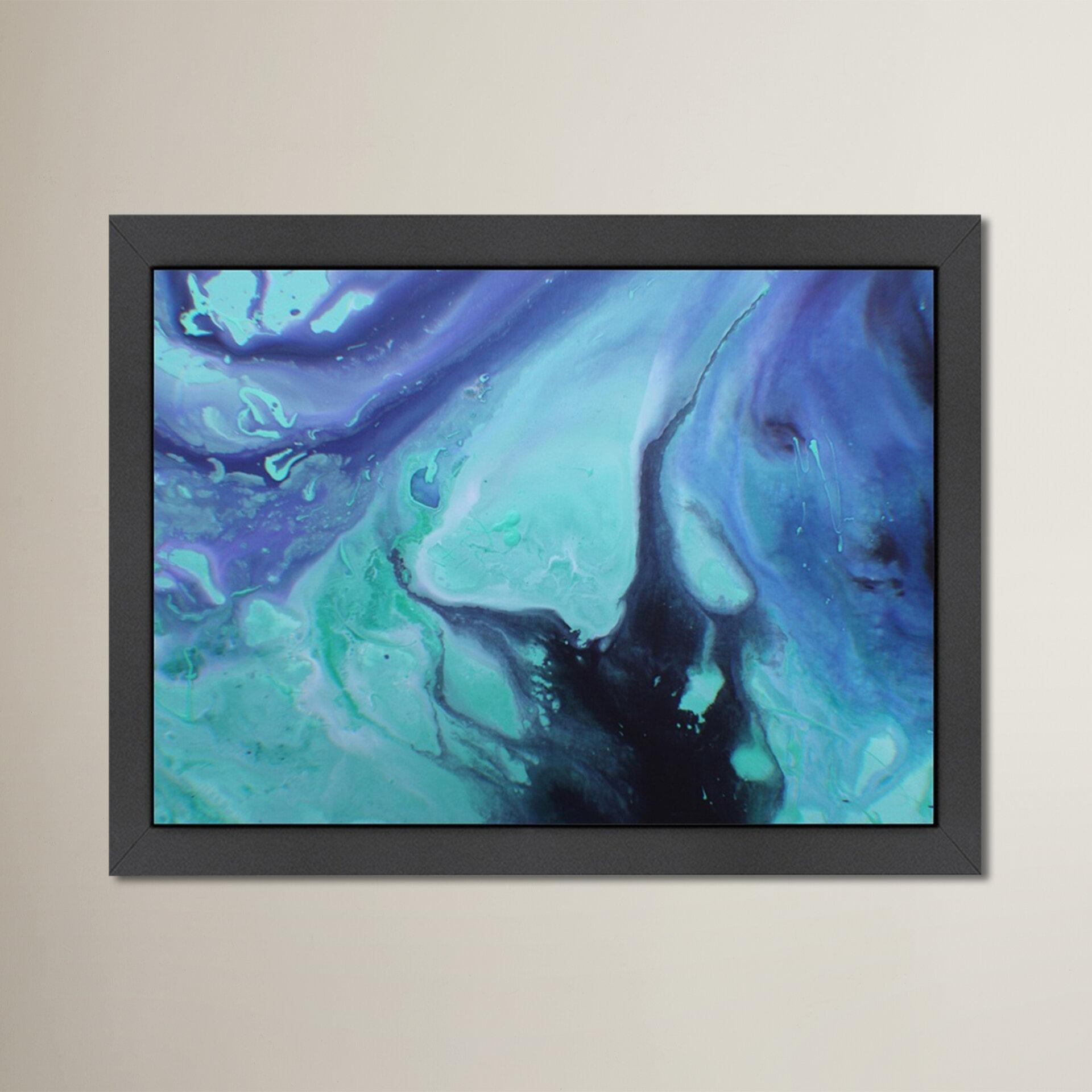 East Urban Home Dark Marble Framed Painting Print Wayfair