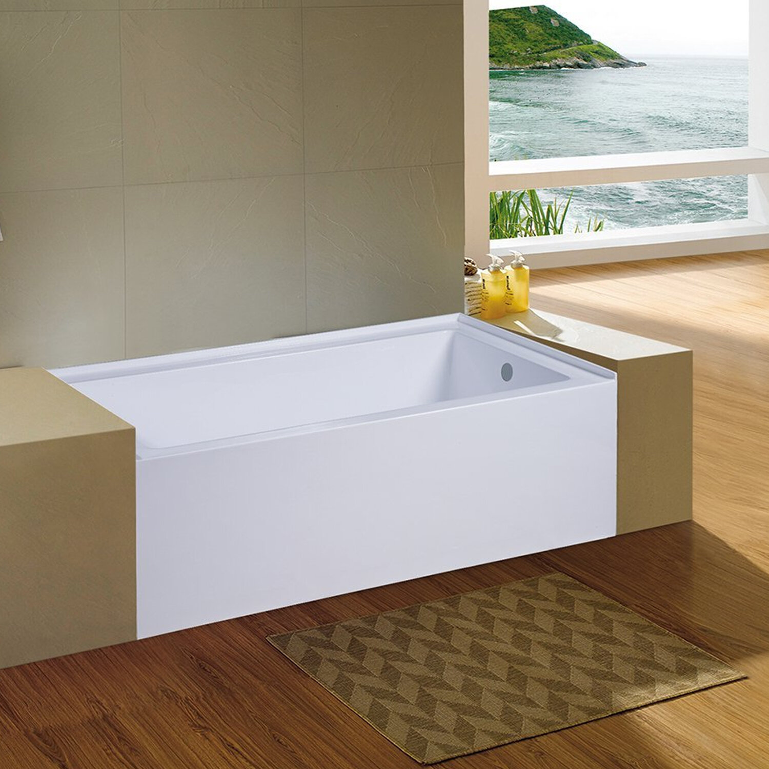 Eviva Nova 60\'\' x 32\'\' Alcove Soaking Bathtub | Wayfair