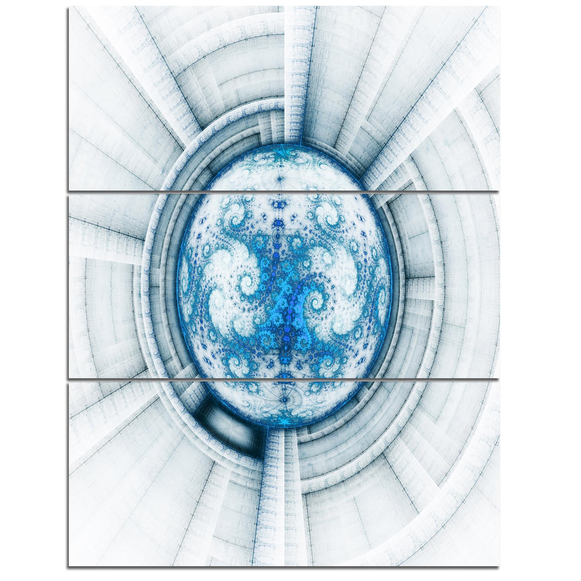 Designart Glowing Soft Blue Fractal Flower 3 Piece Graphic Art On Wrapped Canvas Set Wayfair